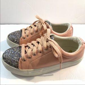 Brash Girls Pink Sneakers Silver Glitter Size 2.5